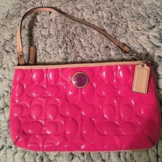 Coach wristlet Coach pink patent leather wristlet Coach Bags Clutches & Wristlets