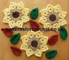 Free crochet pattern for flower and leaves motif http://www.patternsforcrochet.co.uk/flower-motif-usa.html #frecrochetpatterns #flowercrochetpatterns