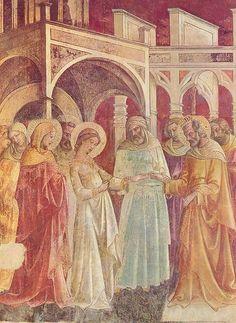 Lorenzo Monaco (circa 1370–circa 1425), Sposalizio della Vergine, affresco,1420-22, Basilica di Santa Trìnita, Firenze