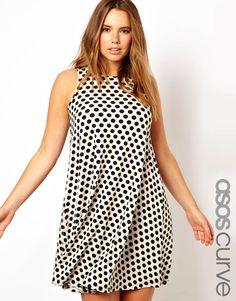 ASOS Curve | ASOS CURVE Exclusive Swing Dress In Spot Print at ASOS