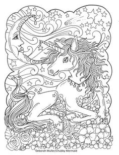 free celestial art unicorn coloring page by chubby mermaid