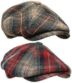 WOOLRICH PLAID Wool Tweed Gatsby Newsboy Cap Men Ivy Hat Golf Driving red  Cabbie 0fb63c3d966