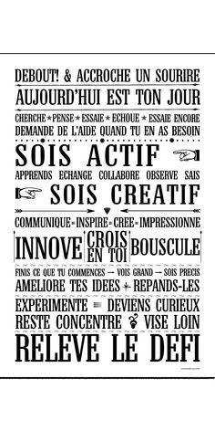 Relève le Défi - BLANC  ~ citation français ~