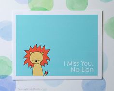 Lion Pun I Miss You Card Cute Fun Missing by SunnyDoveStudio