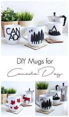 Almost Canada Day! Celebrate your holiday by decorating your own Canadian mugs! Cricut's removable crane lets you remove the design when the holiday is over! Make Your Own Canadian Mugs. Canada Day Fireworks, Canadian Gifts, Diy Mug Designs, Diy Mugs, Funny Coffee Mugs, Vinyl Projects, Circuit Projects, Diy Home Decor, Diy And Crafts