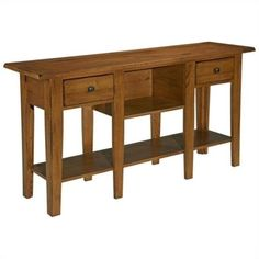 Broyhill-Attic-Heirlooms-Sofa-Table-in-Oak-with-2-Drawers