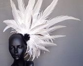MADE TO ORDER White Feather Headpiece Headdress