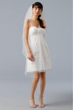 Sassy Spaghetti Straps Empire Chiffon Satin Beach Bridal Gowns