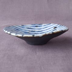 Blue and white striped traditional Japanese ceramic dish (12001406) via Etsy