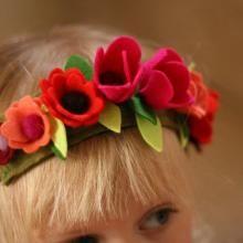 Felt Wool Fuchsia Flower Crown