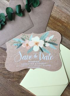 """Our """"Southern Florals"""" save the date on kraft paper with yellow and pink flowers. Scallop trim. Yellow and kraft envelope"""