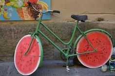 bicycle tyre made up by watermelon