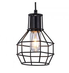 19,95 Vintage Hanglamp Zwart Cage Design - Slaapkamer Hanglampen