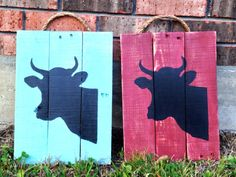 Hand painted cow head silhouette pallet sign by TURQUOISETOO