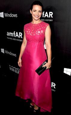 Kristin Davis from Stars at the 2014 amfAR Gala  In Monique Lhuillier.