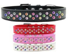 Sprinkles Dog Collar Confetti Crystals | Collar Planet http://www.collarplanetonline.com/dog-collars/sprinkles-dog-collar-confetti-crystals/ A unique dog collar with a sprinkle of amazing multi colored hand set crystals on faux leather.