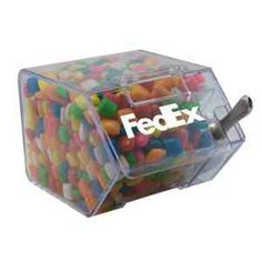 This large candy bin looks great on any desk.  Comes in clear acrylic house shaped bin which can be put on side as candy dispenser. Filled with Chickle Gum. Other fills include: Cinnamon Red Hots, Candy Stars, Candy Hearts, Colored Bullet Candy, Chocolate Littles, Signature Peppermints, Skittles, Jelly Beans, Chocolate Balls, and Corporate Color Chocolates.