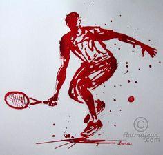 tennis-n-12-dessin-d-ibara-a-l-encre-rouge-et-sanguine-sur-papier-aquarelle-300gr-format-30cm-sur-42cm.jpg - Dibujo,  30x42 cm ©2015 por IBARA -                                                                                    Expresionismo, Papel, Cuerpo, Hombres, Deportes, dessin tennis, peinture tennis