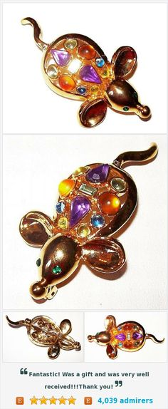 Rhinestone Mouse Brooch Pin Figural Pastel Colors Gold Metal 2 1/4 Vintage https://www.etsy.com/listing/247834767/