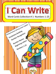 The possibilities are endless with this 25 card set of cards. Each card has a number (1-25) plus the written word. Students can use them to build the connection between written and spoken words. Cards can be used to build letter recognition and  writing skills.