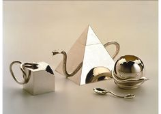 """Cleto Munari Silver Tea Set. 1984. Vignelli Associates. Product Design. """"This tea set was commissioned to joined others designed by famous architects of that postmodern time when it seemed that the snake of reaction to modernism would destroy the purity and minimalism of Euclidean geometry and, in doing so, became a perfect postmodern metaphor."""""""