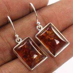 Manufecturer ! 925 Sterling Silver Earrings Natural BALTIC AMBER Rectangle Gems #Unbranded #DropDangle