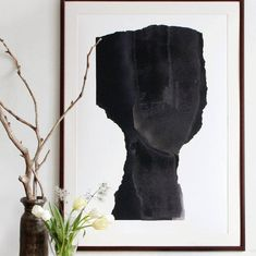 Minimalist fine art print in dark metallic grey. From original collage artwork which is made from paper and painted in black and metallic color spray. Signed. Not framed Available sizes approximate: 8 x 10 inches / 21 x 30 cm 11 x 14 inches / 28 x 38 cm 12 x 16 inches / 30 x 42 cm 16 x 20 inches
