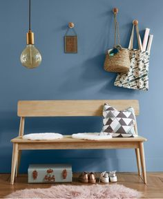 Every entrance hall needs a bench. This solid oak one could serve double duty at your dining table when required. Nateo solid oak hallway bench from La Redoute (affiliate). Hallway Bench, Kitchen Wall Shelves, Oak Bench, Oak Color, Space Interiors, House Entrance, Entrance Hall, Wall Racks, Hallway Decorating