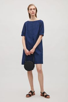 COS image 1 of Dress with elastic sleeves in Blue