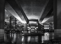 under the cambie street bridge b&w nightscape - again walking for another shot and i thought why not shot under the bride in the city and convert to black and white! Marina Bay Sands, Opera House, Cities, Bridge, Walking, Black And White, Architecture, Street, Jogging