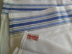 "Antique Linen Kitchen Hand Towel BLUE STRIPE ON SIDES 40/""x17-1//2/"""