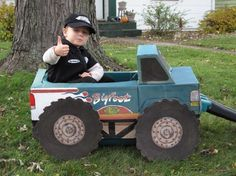monster truck driver wagon halloween costume P Wagon Halloween Costumes, Halloween Costume Contest Winners, St Patrick's Day Costumes, Toddler Costumes, First Halloween, Family Halloween Costumes, Cool Costumes, Halloween Diy, Costume Ideas
