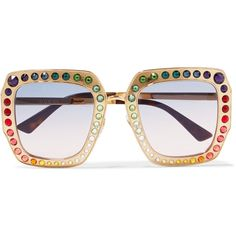 Gucci Gucci - Crystal-embellished Square-frame Gold-tone Sunglasses -... ($955) ❤ liked on Polyvore featuring accessories, eyewear, sunglasses, kaleidoscope glasses, round glasses, rounded sunglasses, rainbow glasses and square frame sunglasses