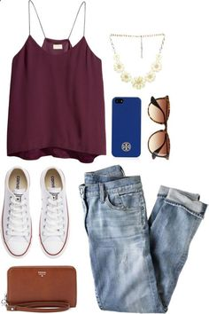 burgundy tank with loose light jeans and white converse with gold, blue, and tan accessories
