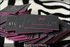 Hot Pink Foil Business Card Edge Painting - Studio Tran Photographers