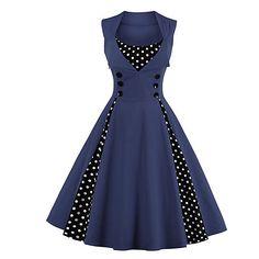 Women's Polka Dot Print Elegant P Bodycon Vestidos Vintage Dress Vestidos Vintage Retro, Vintage Prom, Retro Vintage Dresses, Vintage Mode, Retro Dress, Vintage Style, 1950 Style, Design Vintage, Retro Style