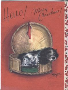 Vintage Christmas Card - Rust Craft - Cocker Spaniel by Marjorie Cooper