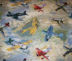 WWII Airplanes on Gray Fabric Fat Quarter.  More available.. $2.49, via Etsy.