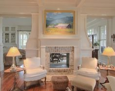 Lovely see-through fireplace with coffered ceiling  classic details