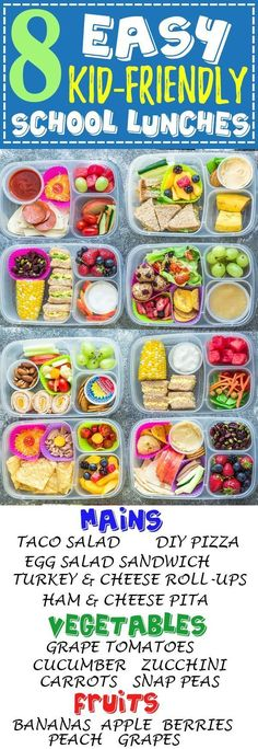 8 Easy, Healthy and Delicious Lunches for Back To School. With tons of ideas along with options for nut free, dairy free and gluten free choices. There is something for even picky eaters who will want to finish their food with no leftovers. Perfect for ad Lunch Box Bento, Lunch Snacks, Healthy Snacks, Healthy Recipes, Lunch Boxes, Snacks Kids, Detox Recipes, Eat Healthy, Easy School Lunches
