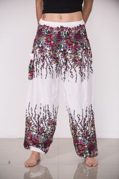 Floral Women's Harem Pants in White