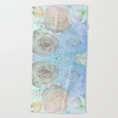 Romantic roses and tiny flowers in pastels Beach Towel