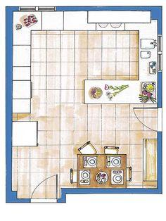 Plano de cocina con medidas casas pinterest - Planos de cocinas ...