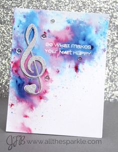 Is there anything better than a big sparkly treble clef? CAS-ual Fridays Stamps: Special Guest Designer: Jessica Frost-Ballas Day 1 has rocked the Treble Clef Fri-Dies.  www.cas-ualfridaysstamps.com  #casfridays #trebleclef #music