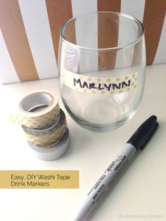 """I'll tell you how to DIY right now: Stick tape to glass. """"Easy DIY Washi Tape Drink Markers"""" <- No kiddin. Tapas, Wine Glass Markers, Drink Labels, Washi Tape Diy, Wine Charms, Diy Birthday, Diy Party, Party Ideas, Easy Diy"""