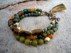 Green Jade / Trade Beads / Bohemian Bracelet / Gypsy Bracelet / Boho Jewelry / Healing Energy Bracelet / Lotus Bracelet. $46.00, via Etsy.