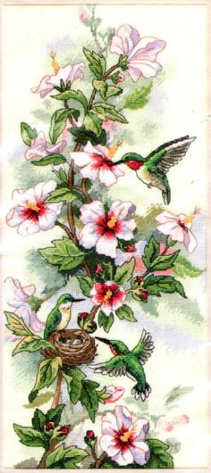 "DIMENSIONS FLORAL ""HUMMINGBIRDS AND NEST"" COUNTED CROSS STITCH KIT ~ SEALED #Dimensions #Frame"