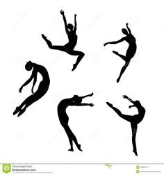 Black Dancer Silhouettes of Women | Five Black Silhouettes Dancing(jumping) Stock Photos - Image: 25966733