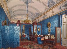 Interiors of the Winter Palace. The Dressing Room of Empress Maria Alexandrovna