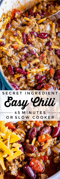 Quick and Easy Chili Recipe (45 Minutes!) from The Food Charlatan. A super easy and quick chili recipe for busy weeknights! You can put it together in 45 minutes, or make it in the slow cooker. This homemade chili is packed with flavor and a secret ingredient that I wasn't prepared to like. But I'm a convert now! Minimal chopping required. Mostly it's just opening cans! #easy #recipe #chili #best #fromscratch #homemade #brownsugar #kidneybeans #stovetop #crockpot #slowcooker #quick #beans